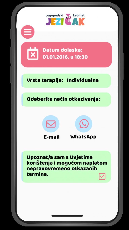 Otkazivanje termina putem maila i WhatsApp